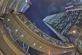 Hong Kong skyline and traffic at nigh Royalty Free Stock Photo