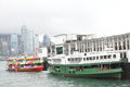 Hong kong star ferry parking at the pier Royalty Free Stock Photography