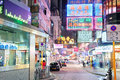 Hong kong street night china apr crowded view at on april in china with m population and land mass of sq km it is one of Stock Photos