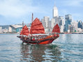 Hong Kong traditional red-sail Junk boat on city skyscrapers bac Royalty Free Stock Photo