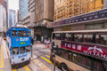 Hong kong tram and bus busy hongkong street with Royalty Free Stock Image