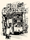 Hong kong with a tramway vector illustration of street in all texts chinese characters add are purely fictitious Royalty Free Stock Images