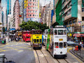 Hong kong tramways x ding ding x double decker trams a colorful street photo showing the on island locally known as dings a busy Royalty Free Stock Image