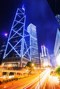 Hong Kong urban city with traffic trail Royalty Free Stock Photo