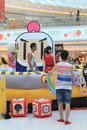 Hong kong vs bomberman game event located in metro city plaza on june th the aims to promote cartoon it Royalty Free Stock Photography