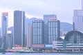 Hongkong business buildings by Victoria harbor, year of 2013 Royalty Free Stock Photography