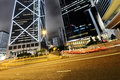 Hongkong car light trails and urban landscape in hong kong Stock Photos