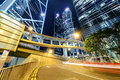 Hongkong car light trails and urban landscape in hong kong Stock Images