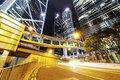 Hongkong car light trails and urban landscape in hong kong Royalty Free Stock Photos