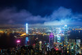 Hongkong hong kong central district skyline and victoria harbour view at night Stock Images