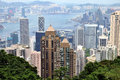 Hongkong Victoria harbor and city view Royalty Free Stock Images