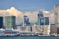 Hongkong West Kowloon modern buildings beside sea Stock Photos