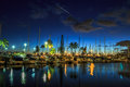 Honolulu Harbor by night Royalty Free Stock Photo