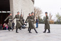 Honor guard leaves the hall of military glory in the area of grief historical memorial complex volgograd russia november Stock Image
