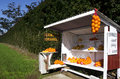 Honor store farm stand with fresh lemons and oranges for sale Royalty Free Stock Images