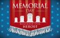 Honorific Banner for Memorial Day Remembering Fallen Heroes, Vector Illustration