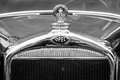 Hood ornament of the opel litre cabrio limousine berlin germany may black and white th oldtimer day berlin brandenburg Royalty Free Stock Image