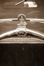 Hood ornament of the opel litre cabrio limousine berlin germany may sepia th oldtimer day berlin brandenburg Stock Photos