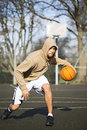 Hooded Basketball Player Portrait Royalty Free Stock Photography