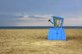 Hooded beach chair at the baltic sea in swinoujscie poland Stock Photos