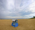 Hooded beach chair at the baltic sea in swinoujscie poland Stock Images