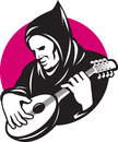 Hooded Man Playing Banjo Guitar Royalty Free Stock Photography