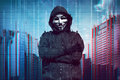 Hooded man wearing guy fawkes mask Royalty Free Stock Photo