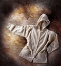 Hooded sweatshirt with hood in hip hop style background underground Royalty Free Stock Photo