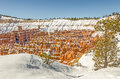 Hoodoos surounded by snow fresh decorates the in bryce national park and leaves a blanket around the edges of the canyon to create Royalty Free Stock Images