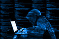 Hoody hacker cybersecurity blue computer code information securi