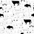 Hoofed animals pattern illustration of in forest black and white a small linear seamless Stock Photography
