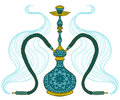 Hookah with arabic pattern and smoke. Royalty Free Stock Photo
