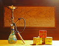 Hookah available for use with al fakher at a counter top in the evening at a restaurant in asia Royalty Free Stock Photo