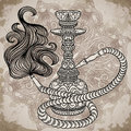 Hookah with oriental ornament and smoke over ornate mandala on aged paper background