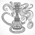 Hookah with oriental ornament and smoke.Vintage vector Royalty Free Stock Photo