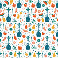 Hookah seamless pattern with fruits