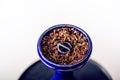 Hookah and tobacoo. Smoking. Man hand Royalty Free Stock Photo