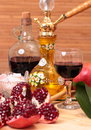 Hookah wine and sweets still life with garnet Royalty Free Stock Photography