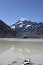 Hooker lake aoraki mt cook over glacier Stock Image