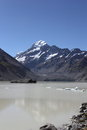 Hooker lake mt cook aoraki over glacier Royalty Free Stock Image