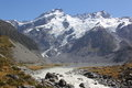 Hooker valley track mt sefton above mueller lake Royalty Free Stock Photos