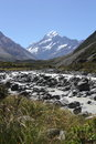 Hooker valley track mt sefton above mueller lake Royalty Free Stock Photo