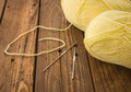 The hooks and the skeins of thread on table Stock Images