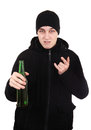 Hooligan with a beer isolated on the white background Royalty Free Stock Image