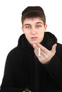 Hooligan with a cigarette isolated on the white background Stock Photography