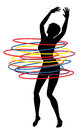 Hoop woman editable vector illustration of a sexy exercising with many hula hoops Royalty Free Stock Photos