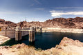 Hoover dam in the black canyon of the colorado river between the us states of arizona and nevada Stock Photo