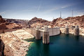 Hoover dam in the black canyon of the colorado river between the us states of arizona and nevada Royalty Free Stock Photo