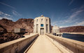 Hoover dam in the black canyon of the colorado river between the us states of arizona and nevada Royalty Free Stock Photos