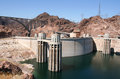 Hoover dam boulder dam usa is a concrete arch gravity in the black canyon of the colorado river on the border between the us Stock Photos